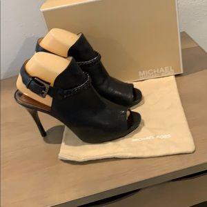 MICHAEL Michael Kors black leather peeptoe heels 9